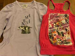 Armani Junior long sleeve top and DKNY strappy stop - size 3