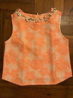 Gingersnaps orange jacquard formal top - size 4