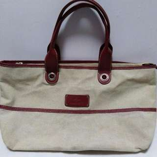 Authentic Lacoste Canvas Leather Tote Bag