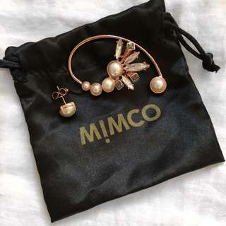 NEW Mimco Rose Gold Ear Cuff + Pearl Stud
