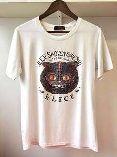【包郵】愛麗絲貓珠珠彈性白色T恤