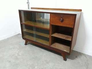 vintage A-leg Burmese teakwood display cabinet