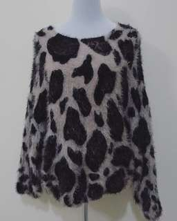 Oversized animal print sweater