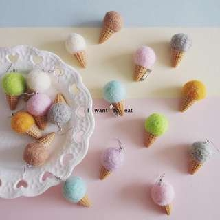 Handmade Korean Ulzzang Ice Cream Cone Pom Pom Earrings