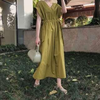 四色/法式優雅感皺褶收腰連身裙/洋裝/連身洋裝