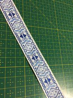 Traditional blue on white ribbon - TB1144