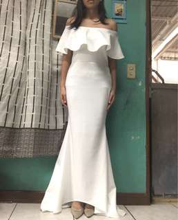 Long gown dress off shoulder