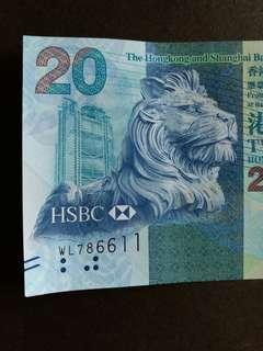 D 香港纸幣 全新UNC 20元 WL786611