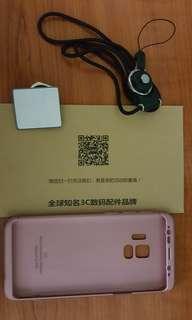 Samsung S9玫瑰金手機壳連曲面軟膜、掛繩及指環支架