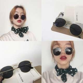 夏天BI備/// 時尚的金邊黑鏡片太陽眼鏡/墨鏡