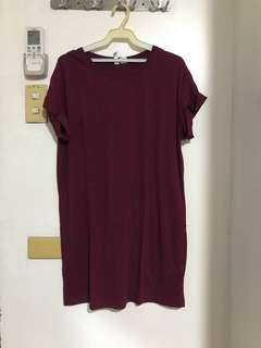 H&M Maroon T-shirt dress