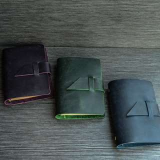 🚚 📕📕📕 [PREORDER] Genuine  Leather Blue, Green, Black, Red, Purple, Chocolate, Light brown, Mustard Yellow Midori Styled A7 Planner, Journal (No accessories)