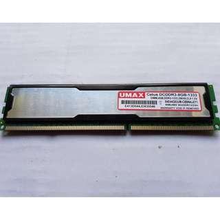 🚚 UMAX 4GB DDR3-1333 雙面顆粒帶散熱片 桌上型記憶體、拆機良品、售價為單支價