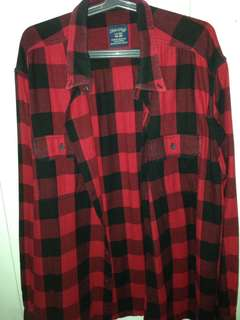 Flannel Polo (Red Plaid/Checkered)