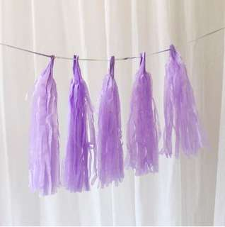 🚚 🎊5pc Lavender Paper Tassel Garland DIY Party Decor
