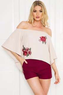 Embroidered Floral Off Shoulder Blouse