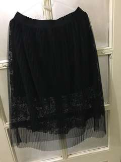 Forever21 Black 3 Layer Lace Midi Skirt Large