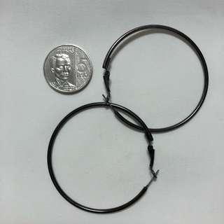 Earrings - Large Hoop Metallic Grey