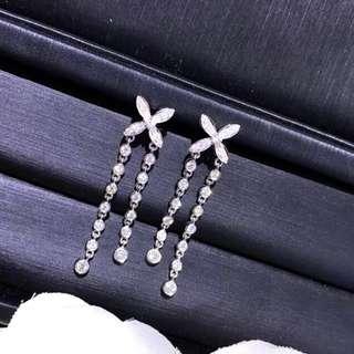 50分氣質花型18k鑽石耳環💎晚宴慶功宴婚禮婚宴派對謝師宴必備🎁女朋友生日禮物推薦