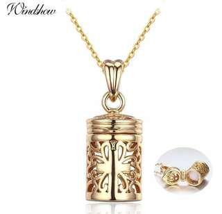 Hollow Out Filligree Cross perfume Bottle Essential Oil Diffuser Necklace Women Necklaces & Pendants Gold Color Aroma Jewelry