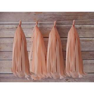 🚚 🎊5pc Peach Paper Tassel Bunting Party Decor