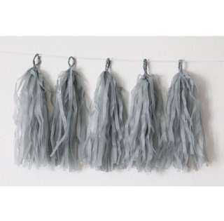 🚚 🎊5pc Grey Paper Tassel Garland Bunting Kit with String