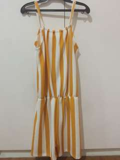 Yellow and White Stripes Romper