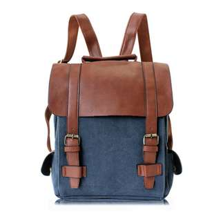 Retro Style Leather Backpack / Laptop Bag / School Bag / Work Bag / Canvas Bag
