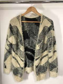 Faux fur two toned cardigan