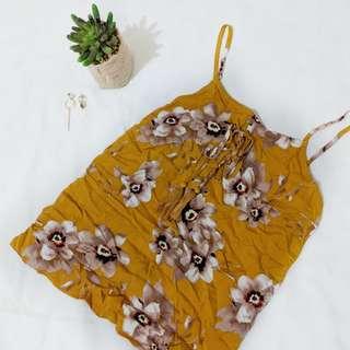 Yellow mustard floral singlet top