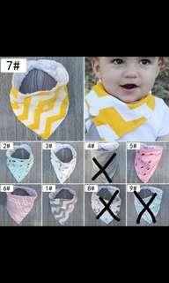 Kids baby bandana head scarfs towel bib saliva