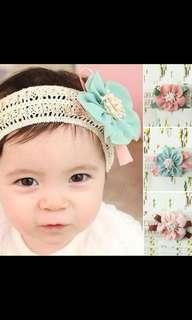 Baby girl toddler kids flower lace headband headwear