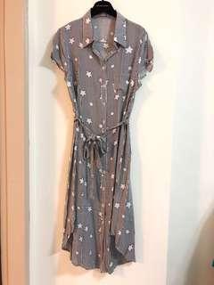 🚚 【EYESCREA】星星條紋圖案襯衫式洋裝