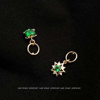 定製鍍18K包金祖母綠復古耳環五角星方形鋯石小吊墜輕奢耳飾耳釘
