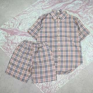 卡其格子中性短袖襯衫/卡其格子中性短褲套裝