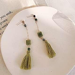 訂製款天然翡翠綠方石流蘇垂墜耳環