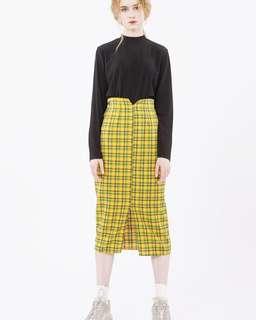 Vintage ::: 復古鬆緊前開衩過膝裙