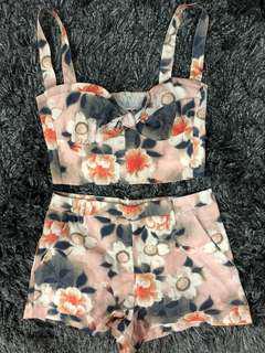 Floral crop bralet and shorts set