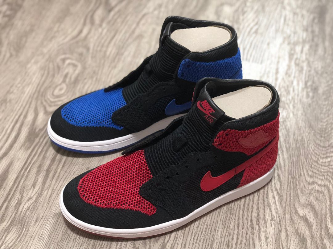 cb7369bd74c5d1 Air Jordan 1 Flyknit Left Shoe Bred and Right Shoe Royal