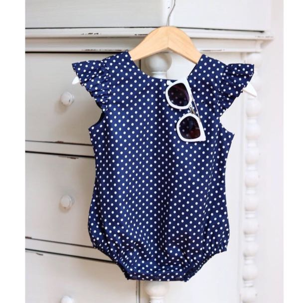 aa87a68fd Baby Girl Romper Polka Dot Ruffles Cute Pretty Navy Blue Newborn ...