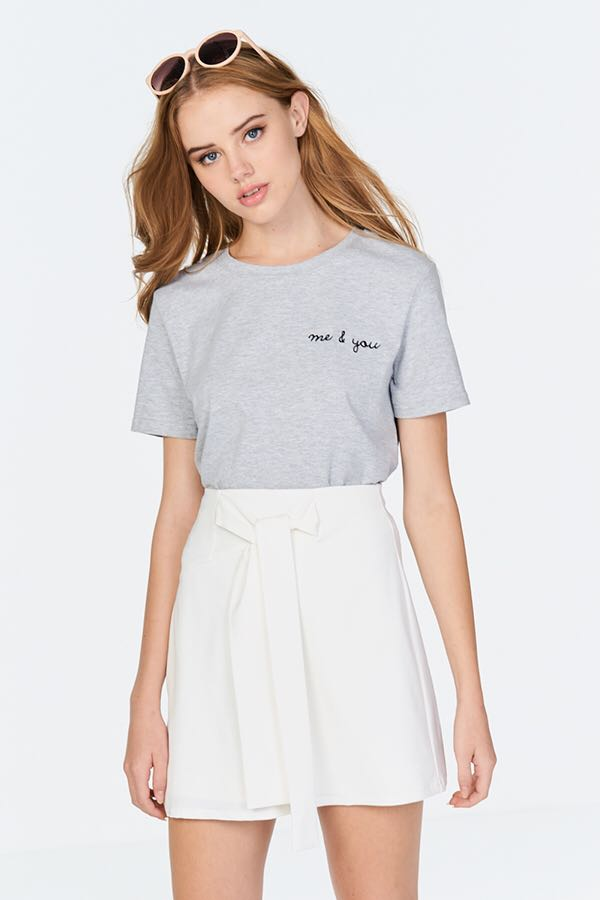 ed2eda79fac9e BN  TCL ME AND YOU EMBROIDERED TOP SHIRT TEE IN LIGHT GREY