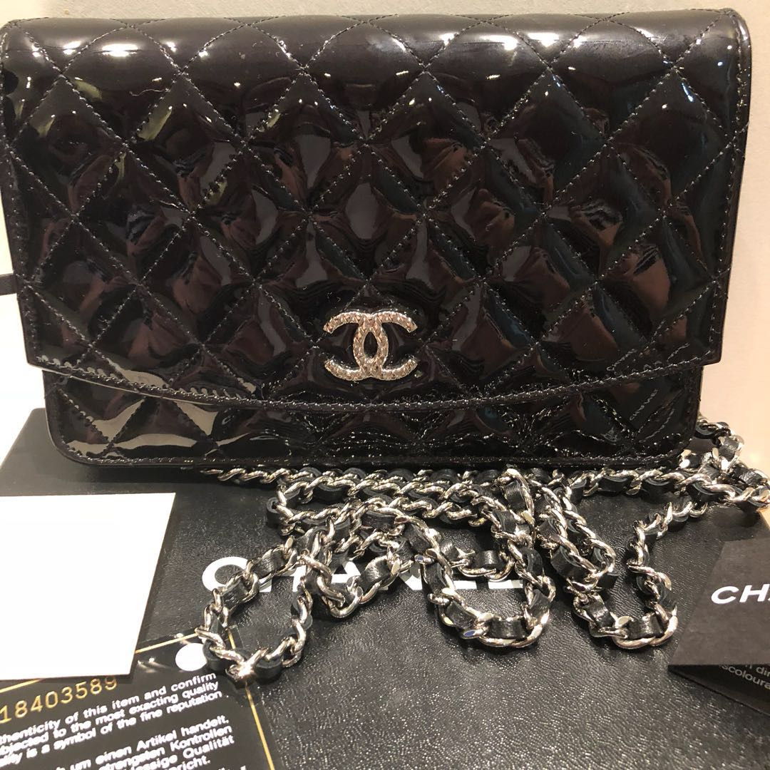0907170d92e3 BNIB  CHANEL BLACK PATENT LEATHER WALLET ON CHAIN WOC BAG