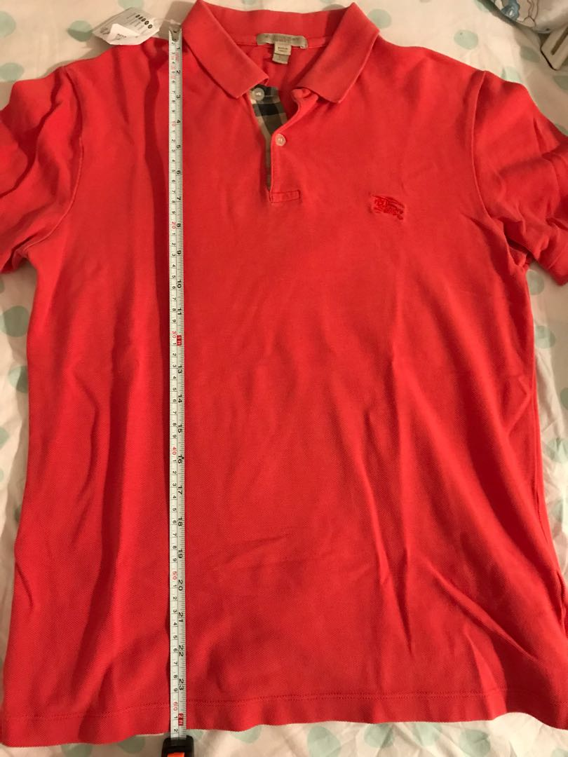 59827658a Burberry polo shirt size small orange, Luxury, Apparel on Carousell