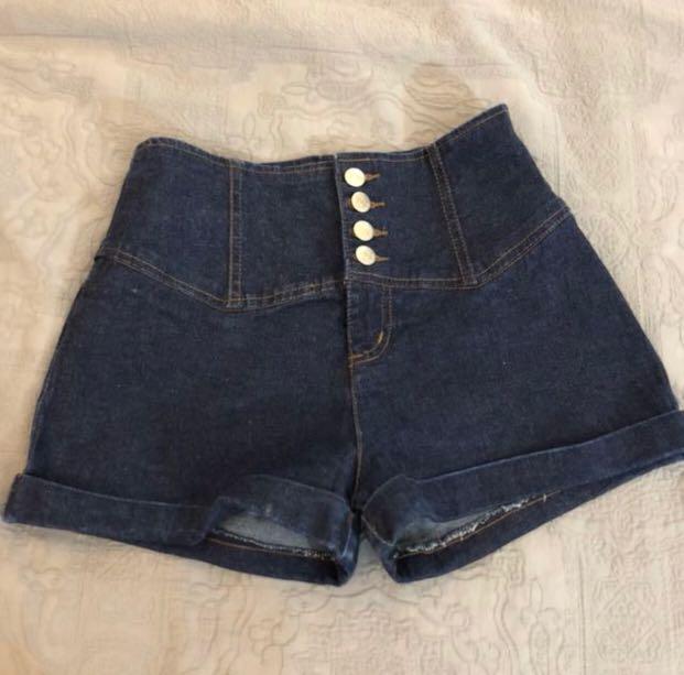 Button Denim Shorts