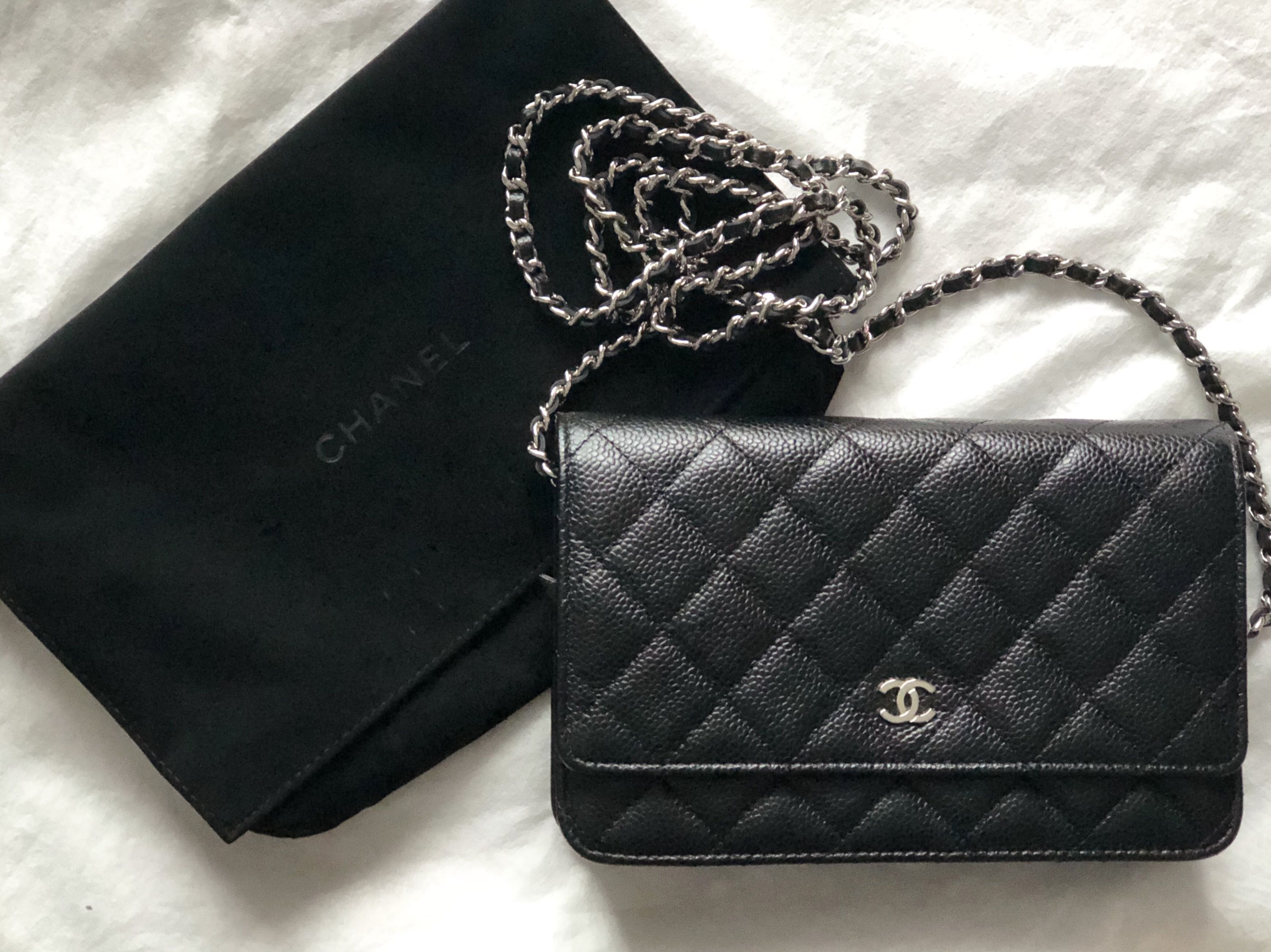 97b16e6ddd0a Chanel Black Wallet on Chain (WOC) Silver Hardware, Luxury, Bags & Wallets,  Sling Bags on Carousell