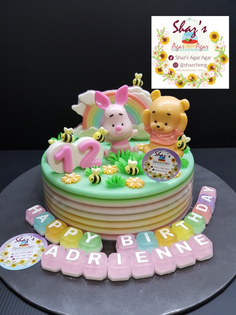 Customised Winnie The Pooh Piglet Theme Jelly Agar Birthday Cake Pm For Pricing