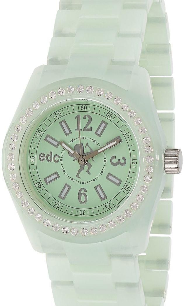 bd5ce5e888a9 edc by Esprit Disco Glam Unisex Green Dial Plastic Band Watch ...