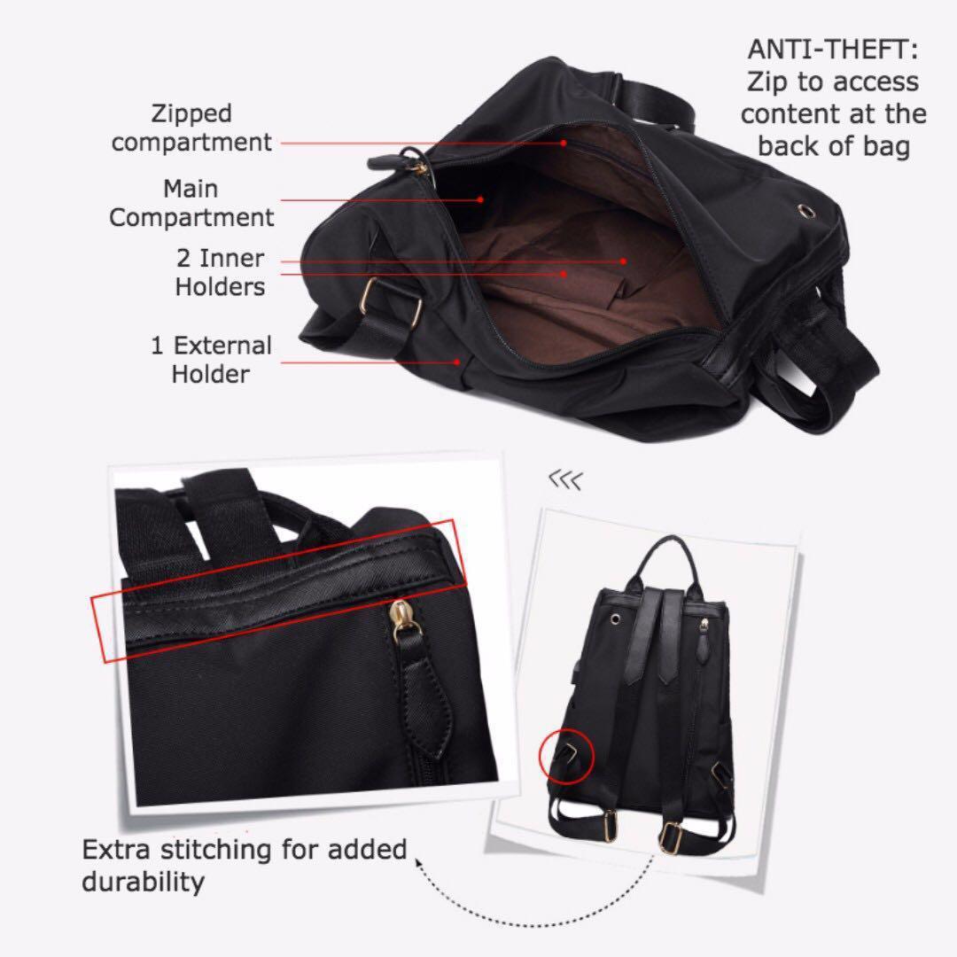 KATE Women's Rucksack/ Backpack/ Fashion/ Black/ Stylish