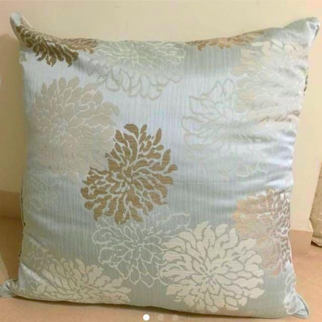 🆕Mint Blue & Taupe Luxurious Floral Embossed Cushion  ~ Size X Large