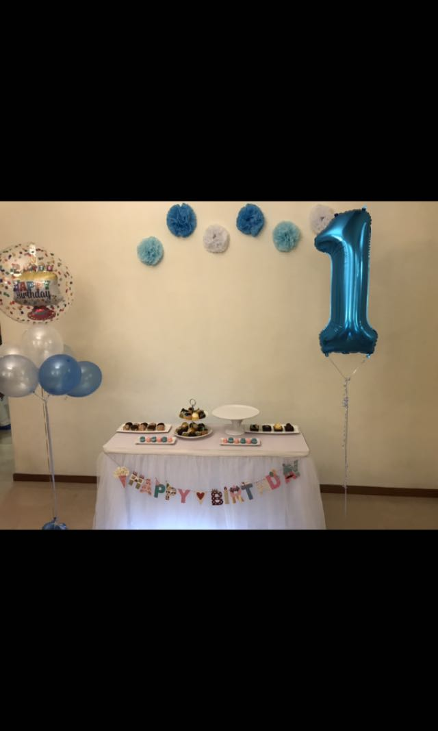 party table skirting and happy birthday banner design craft